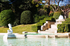 Fountain in Park of Pedralbes Royal Palace Stock Images