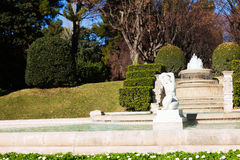 Fountain in Park of Pedralbes Royal Palace Royalty Free Stock Photos