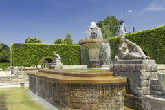 Fountain in the park of roses. Royalty Free Stock Photo