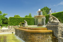 Fountain in the park of roses. Stock Photo