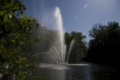 Fountain in park Sonsbeek in Arnhem Royalty Free Stock Photography