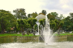 Fountain. The fountain in the Park. Spring in Tallinn stock image