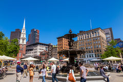 Fountain in Park Street with the Steeple of Old North Church Stock Image