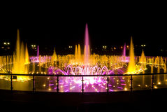 Fountain Park in the summer. Night with colored fountain jets in Moscow Stock Photography