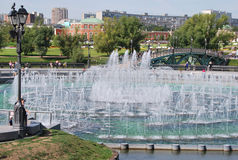 Fountain in park Tsarina's in Moscow. Historical manor memorial eatate in Moscow in which the palace of tsarina Catherine II is located. A pond with a musical Stock Photos