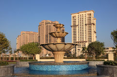 Fountain at The Pearl in Doha Stock Photos