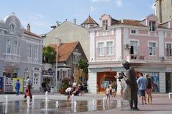 Fountain on pedestrian friendly boulevard. Fountain on pedestrian friendly Knyaz Boris boulevard in Varna in Bulgaria Royalty Free Stock Image