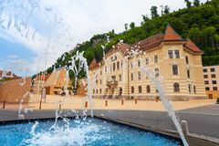 Fountain and pedestrian street in Vaduz , Liechtenstein Stock Images
