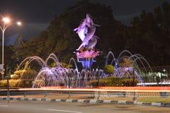 Fountain in Pekanbaru, Riau. Fountain of two fish in Pekanbaru, Riau, Indonesia stock photo