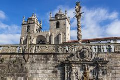 Cathedral in Porto. Fountain of Pelican and Cathedral in Porto city, Portugal Royalty Free Stock Photo