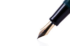 Fountain pen. Tip of a fountain pen isolated on white background stock photo