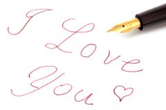 Fountain pen. Says I love you Stock Photography