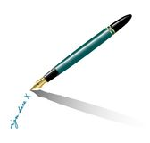 Fountain-pen. Realistic vector-illustration of an oldfashioned fountain-pen writing Stock Images