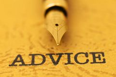 Fountain pen on advice. Close up of Fountain pen on advice Royalty Free Stock Photography