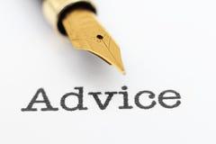 Fountain pen on advice text Stock Image