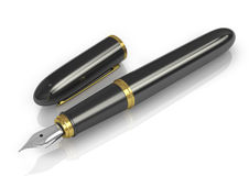Fountain pen in black with gold Stock Image