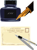 Fountain pen and bottle of ink Royalty Free Stock Photo
