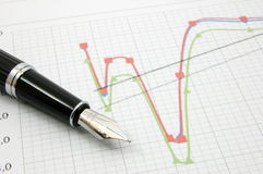 Fountain pen on business chart Stock Photo