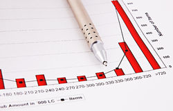Fountain pen and  Business charts Royalty Free Stock Photography