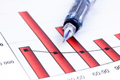 Fountain pen and  Business charts Royalty Free Stock Image