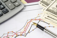 Fountain pen and calculator on the financial graph. Stock Photography