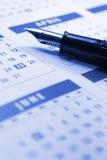Fountain Pen on Calendar Stock Photography