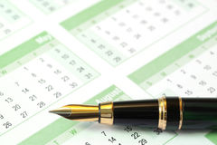 Fountain Pen on Calendar Royalty Free Stock Images
