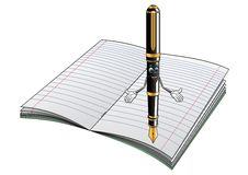 Fountain pen cartoon character with notebook. Happy smiling cartoon fountain pen character with golden nib and decorative elements on open lined notebook suited Stock Image