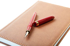 Fountain pen close-up and  leather organizer Royalty Free Stock Photo