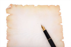 Fountain pen on decorative paper Royalty Free Stock Photo