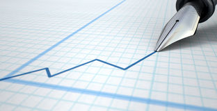 Fountain Pen Drawing Increasing Graph Stock Photo