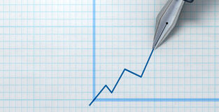 Fountain Pen Drawing Increasing Graph Royalty Free Stock Photo