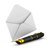 Fountain pen and envelope on white background Stock Photos