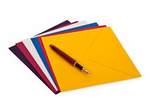 Fountain pen and envelops Royalty Free Stock Photo