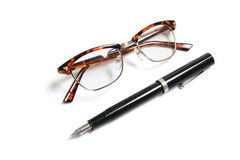 Fountain Pen and Eye Glasses Stock Photography