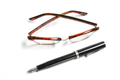 Fountain Pen and Eye Glasses Royalty Free Stock Images