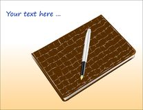 Fountain pen with a gold feather on a notebook with a brown cover made of leather, similar to crocodile.ilar to crocodile. Stock Image