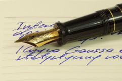 Fountain pen. With gold, ornate nib on a notebook Stock Image
