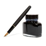 Fountain pen with ink bottle Royalty Free Stock Image