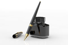 Fountain Pen with Ink Bottle Stock Images