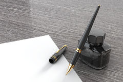 Fountain Pen with Ink Bottle on a wooden table. 3d Rendering Stock Photo