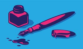 Fountain Pen, Inkwell, Cover And Inkblots. Stylish Vector Illustration Of Fountain Pen, Inkwell, Cover And Inkblots royalty free illustration