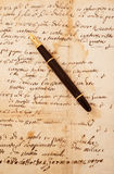 Fountain pen on letter. Fountain pen on an antique  letter Stock Photo