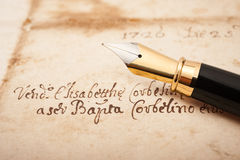 Fountain pen on letter. Fountain pen on an antique  letter Royalty Free Stock Photos