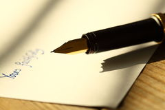 Fountain pen letter A Stock Image