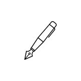 Fountain pen line icon, education and school Stock Images