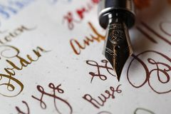 Fountain pen nib close up. Fountain pen nib on white paper with writing samples Stock Images