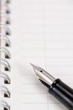 Fountain pen and notebook Stock Photos