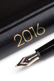 Fountain pen and notebook 2016 Stock Photography