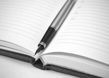 Fountain pen on the open planner Stock Images